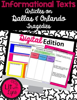 Digital Informational Paired Text Articles on Dallas & Orlando Tragedies