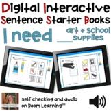 Digital Interactive Books - I Need - Sentencer Starter Boo