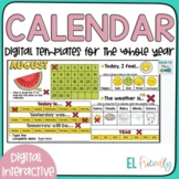 Digital Interactive Calendar for Newcomers Google Classroom