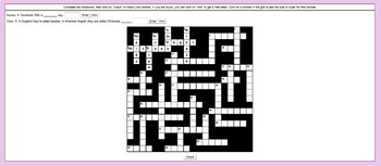 Digital Interactive Christmas Crossword Game for IWB / Laptop Projector Screen
