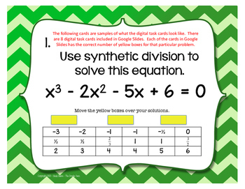 PreCalculus Digital Interactive Math Synthetic Division Task Cards
