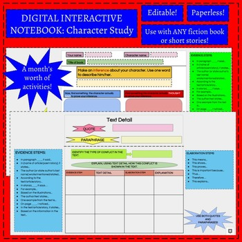 Digital Interactive Notebook: Character Study (Fiction)