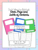 Digital Interactive Notebook Cover Pages and Table of Contents