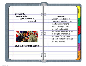 Digital Interactive Notebook (DINB) Civil War & Reconstruc