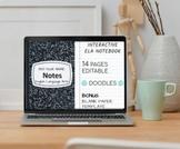 Digital Interactive Notebook | ELA 6th Grade | Higher Order Thinking | Editable