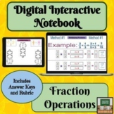 Digital Interactive Notebook- Fraction Operations- Distanc