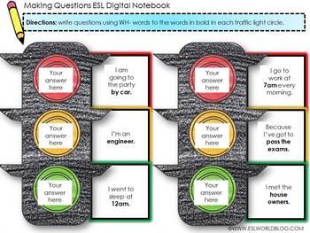 Question Words Worksheet Google Slides - Digital Notebook