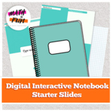 Digital Interactive Notebook Template Starter Slides: Math