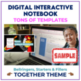 Digital Interactive Notebook Templates for ANY subject SAMPLER: TOGETHER THEME
