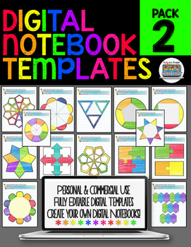 DIGITAL NOTEBOOK PAPERLESS TEMPLATES PERSONAL AND COMMERCIAL USE {PACK #2}