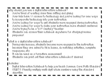 Digital Interactive Notebook for Common Core Standard 5.NBT.5