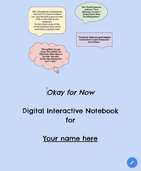 Digital Interactive Notebook for novel Okay for Now