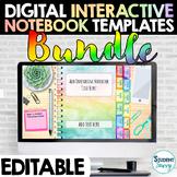 Digital Interactive Notebooks Templates EDITABLE Bundle  