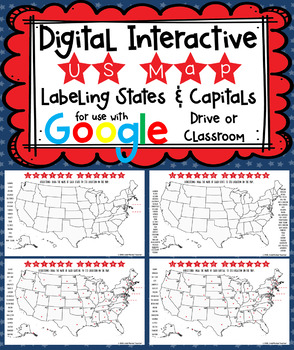 Digital Interactive U.S. Maps for Labeling States and Capitals (Google)