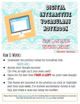 Digital Interactive Vocabulary Notebook (List 1)