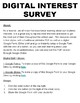 Digital Interest Survey - Back To School (Editable on Google Forms)