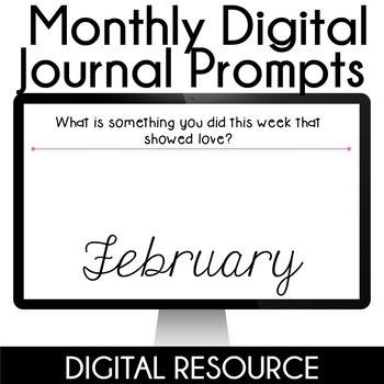 Digital Journal Prompts in Google Slides- February