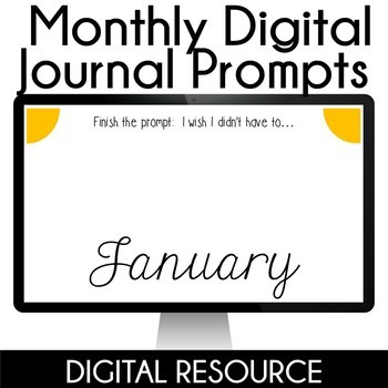 Digital Journal Prompts in Google Slides Distance Learning- January