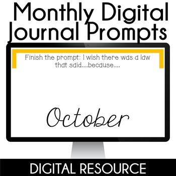 Digital Journal Prompts in Google Slides Distance Learning- October