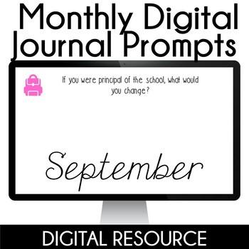 Digital Journal Prompts in Google Slides Distance Learning- September