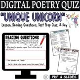 Digital Kid Poetry Activities Worksheets Quiz Middle School Poems about Unicorns