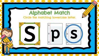 Digital Kindergarten ELA Center- Alphabet Match
