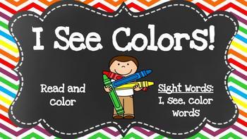Digital Kindergarten ELA Center- I See Colors Emergent Reader