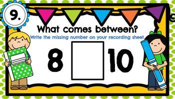 Digital Kindergarten Math Center- What Number Comes Between?