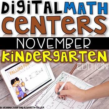 Digital Kindergarten Math Centers for NOVEMBER