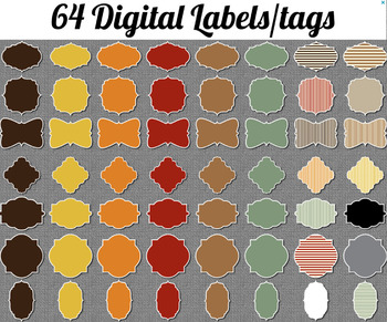 Digital Labels, Autumn colors, digital frames, or use as printable tags, labels