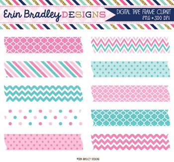 Digital Labels Clipart - Pink and Blue