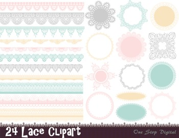 Digital Lace Doily Clip Art Lace Frame Border Clip Art Pink Blue Yellow Green
