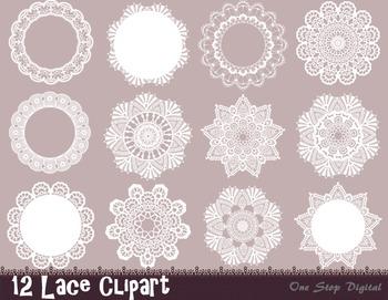 Digital Lace Doily Clip Art Lace Frame Element Digital Lace Decoration Clip Art