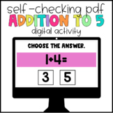 Digital Learning Addition to 5 Self-Checking Activity - Set 2