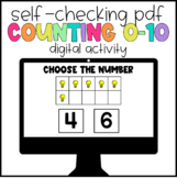 Digital Learning Counting 0-10 Self-Checking Activity
