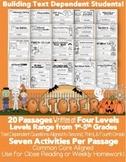 Digital Learning: Google Slides™& PDF October Close Reading LEVELED Passages