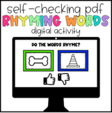 Digital Learning Rhyming Words Self-Checking Activity