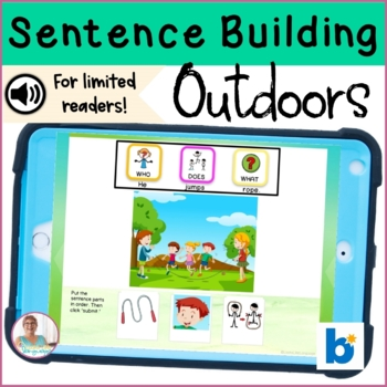 BOOM Cards | No Print Sentence Building | Outdoor Fun Activities| Teletherapy