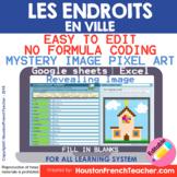 Digital Les Endroits en Ville French City Places Game |Pixel Art Mystery Picture