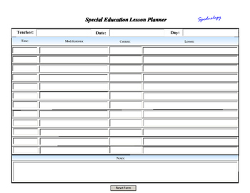 Digital Lesson Plan Scheduler Form ~ Include Modifications or Accomodations!