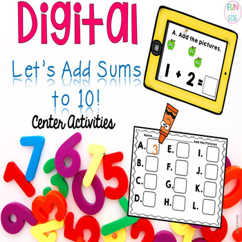 Digital Let's Add Sums to 10 Center Activities