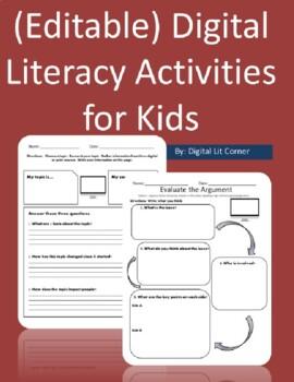 Digital Literacy (Citizenship) Activities for Kids (Editab