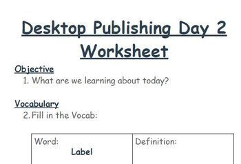 Digital Literacy - Desktop Publishing Day 2
