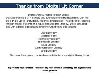 Digital Literacy Posters for High School by Digital Lit Corner
