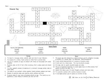 Digital Literacy - Social Networking Crossword Puzzle