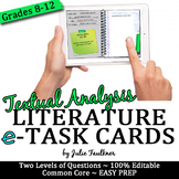 Digital Literary Analysis Task Cards, Response to a Text, Analysis of Literature