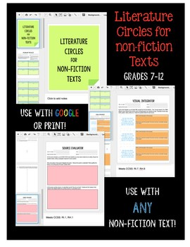 Digital Literature Circles for NON-FICTION Texts - Use with Google!