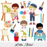 Digital Little Artist Boy Clip Art, Boy Art Party Clip Art, Painting Boy Clipart