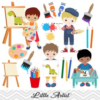 Art painting. Digital little artist boy