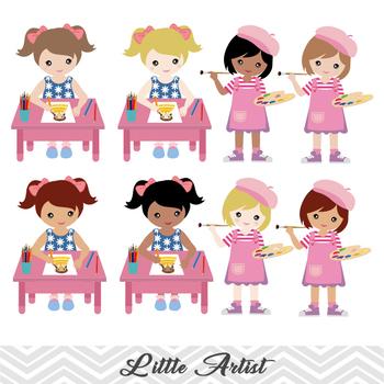 Digital Little Artist Girl Clip Art Painting Girl ClipArt Girl Art Party Clipart
